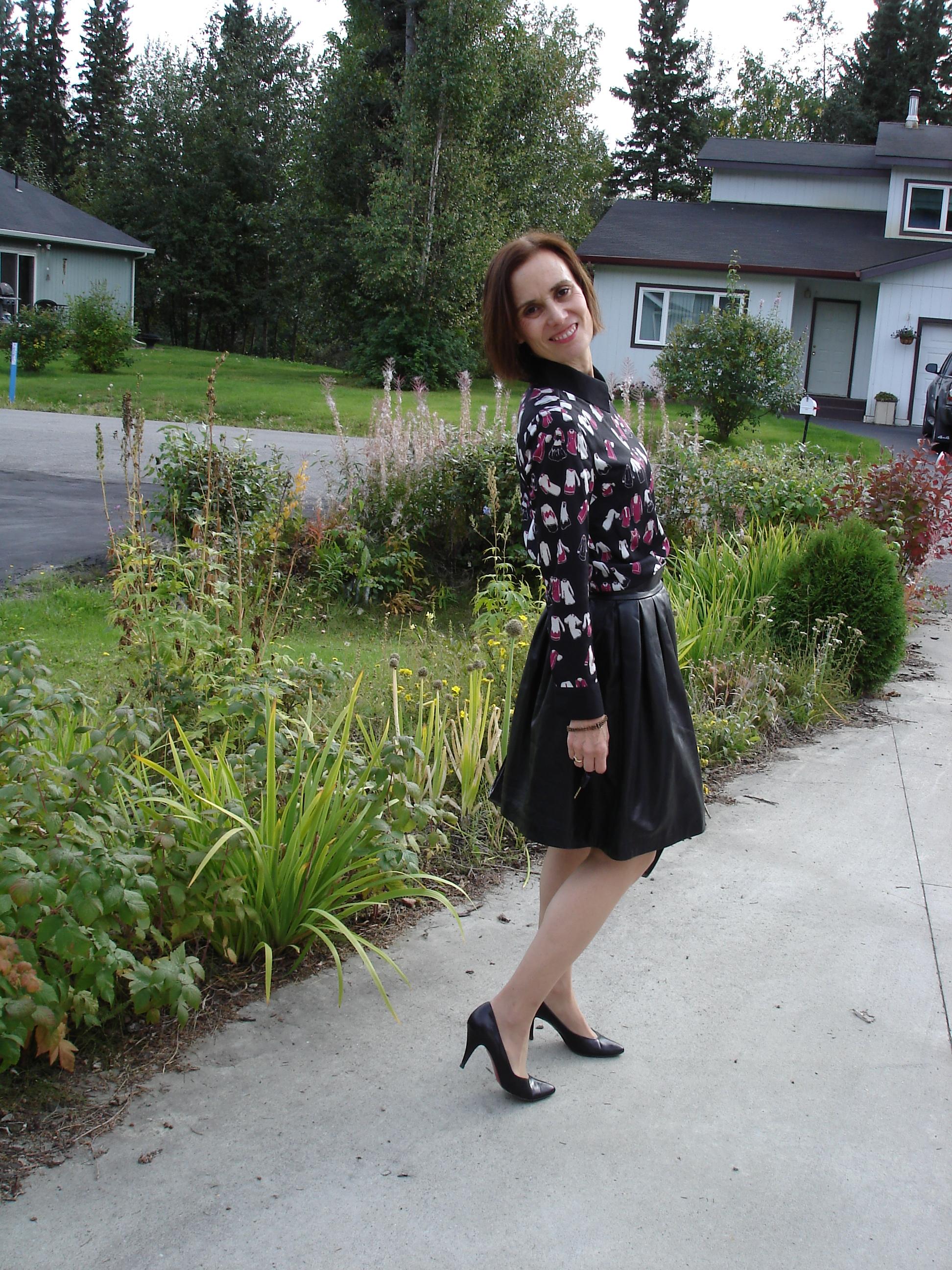 Mature under skirt
