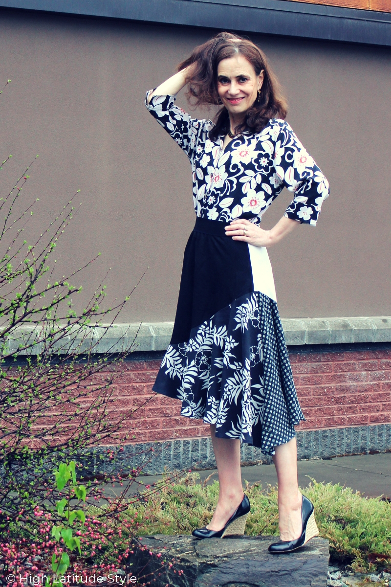 Nicole of High Latitude Style in multi-print dance outfit